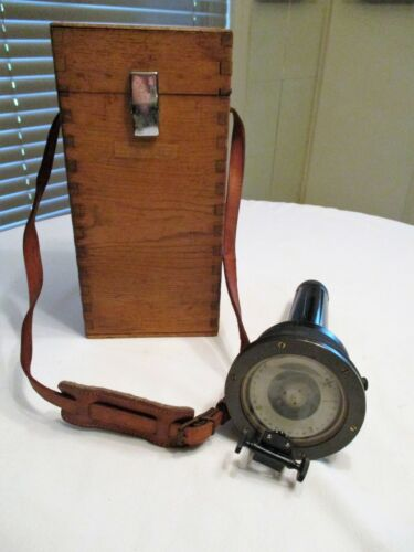 Vintage Maritime Handheld Prism Compass Flashlight with wooden box Japan 1960