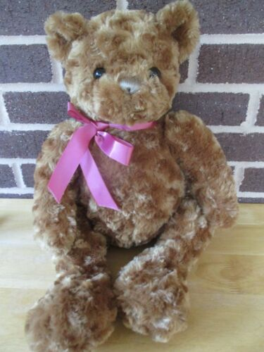 "18"" Animal Adventure Bear -Brown Chenille Look Plush Stuffed Pink Bow 2012"