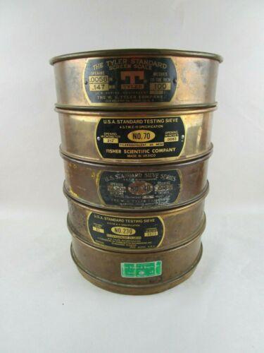 """Vintage LOT of (5) Brass US Standard Sieve 8""""  W S Tyler Co  Van Waters Fisher"""