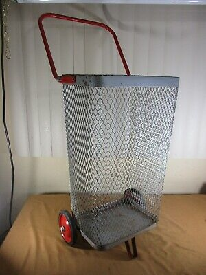 Vintage Metal Rolling Market Grocery Shopping Basket Cart Caddy Folding Handle