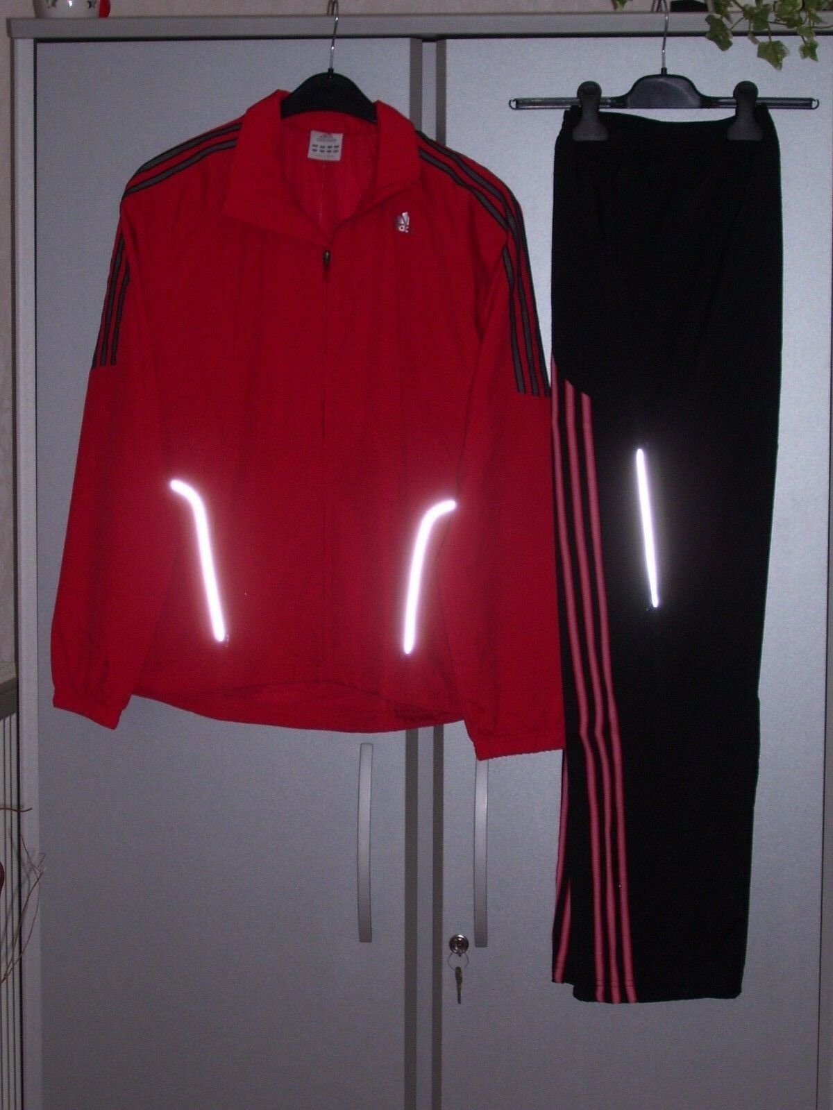 ADIDAS Herren Trainingsanzug ClimaLite rot schwarz Jacke und Hose S XL neu