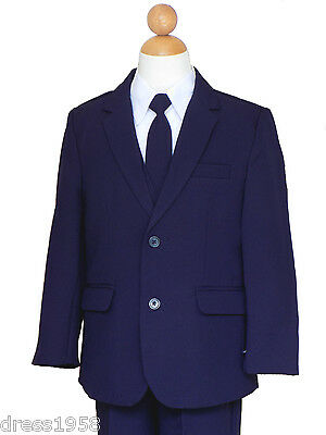 Boys Graduation, Recital, Ring Bearer, Navy Blue/White Suit Set  2T to 14 (Ring Bearer Suit)