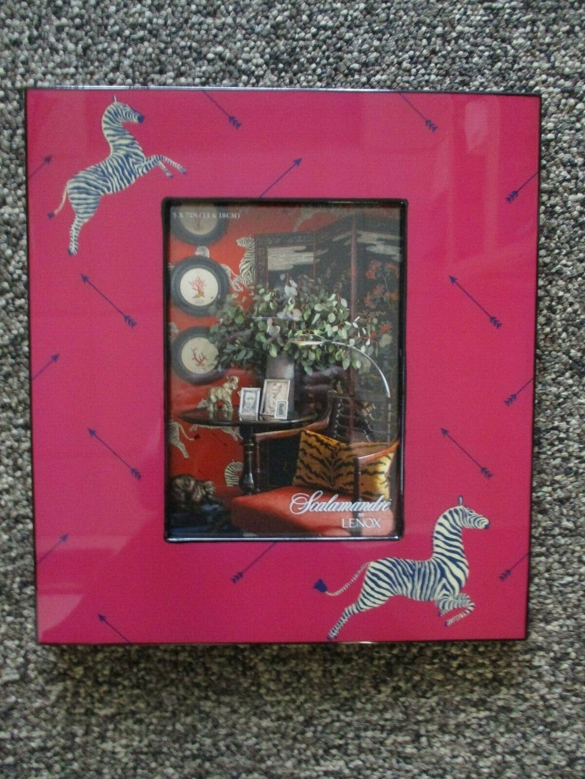 """Scalamandre by Lenox  Zebra & Arrows Lacquer Picture Frame 5"""" X 7""""  New in Box"""
