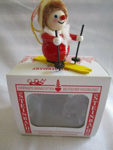VINTAGE STEINBACH PRAFENT - SKIER - WOODEN CHRISTMAS ORNAMENT WITH TAG