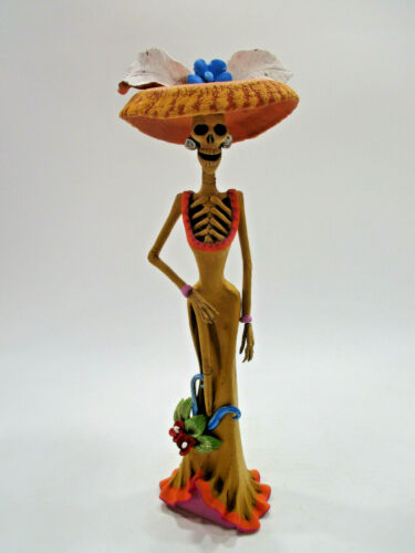 BEAUTIFUL CATRINA handmade clay figurine mexican folk art day of the dead 15""