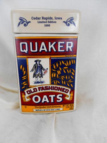 Quaker Oats Oatmeal Cookie Jar 1998  Limited Edition Cedar Rapids Plant MINT NEW