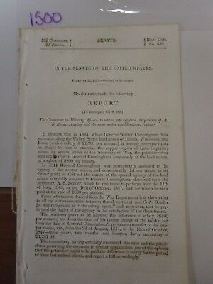 Government Report 1843 Petition For A S  Bender Salary  1500