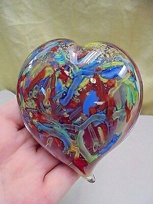 Mid Century Murano Italy Colorful Gold Fleck Heart Art Glass Paperweight 4