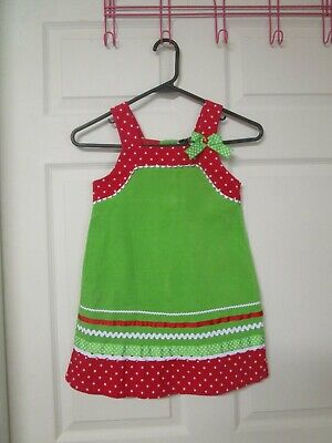 Girl's Rare Editions Christmas Themed Green Corduroy Jumper. Size 5. Ribbon