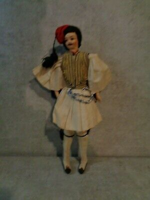 ANTIQUE 13' MARACA DANDER DOLL HAND PAINTED CLOTH FACE PLASTIC HANDS *****
