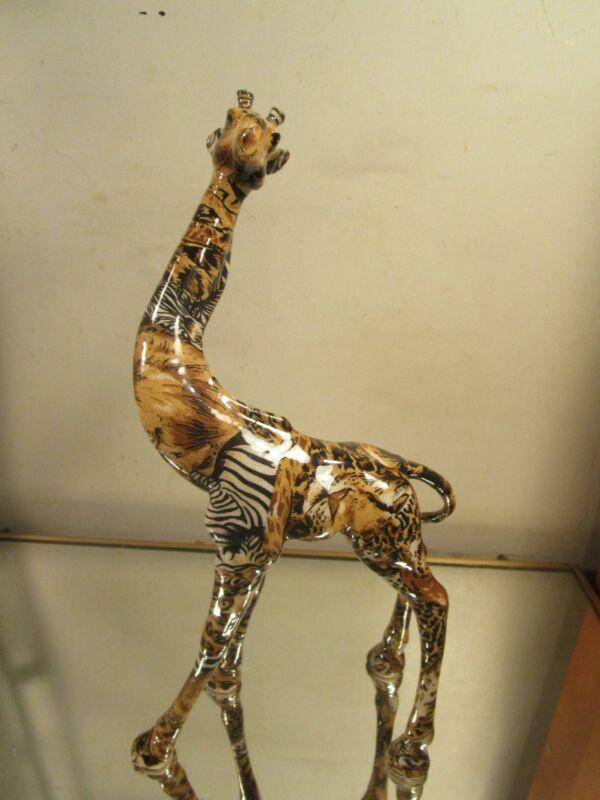 "La Vie Standing Giraffe Figurine Animal Print Zebra Tiger Leopard Statue 13""~"