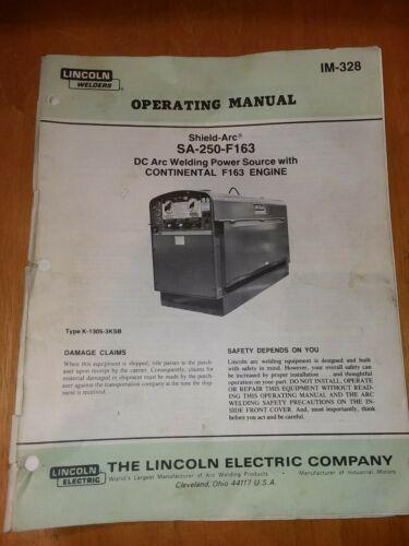 Vintage Lincoln SA-250-F 163 Welder Operating Maintenance Manual SA250 F163