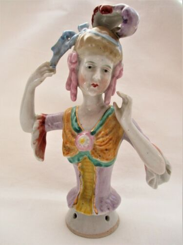 """ANTIQUE, JAPAN, PORCELAIN ARMS AWAY PIN CUSHION, HALF DOLL, 6 12"""", COLORFUL !"""