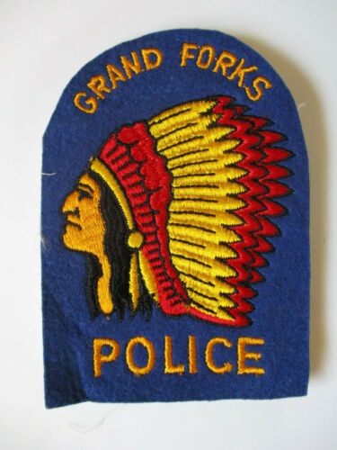 vintage Early 1960 ? Grand Forks North Dakota Felt Police Patch RARE Classic