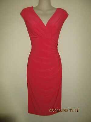 LAUREN RALPH LAUREN Salmon Pink Surplice Draped Ruched Faux Wrap Dress, Size 6