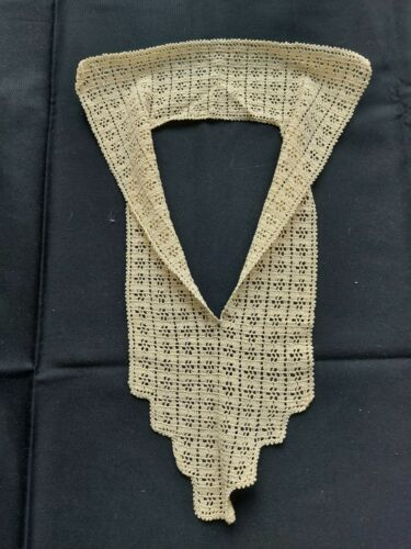 Beautiful Vintage Handmade Crocheted Lace Collar 100% Cotton Beige Art Deco