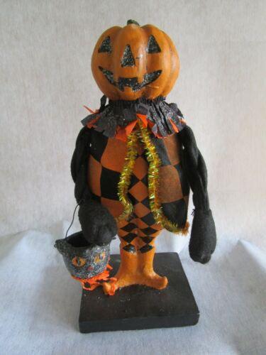 Vintage Halloween style Resin Goblin Pumpkin Man Mantel Shelf Decoration # 1