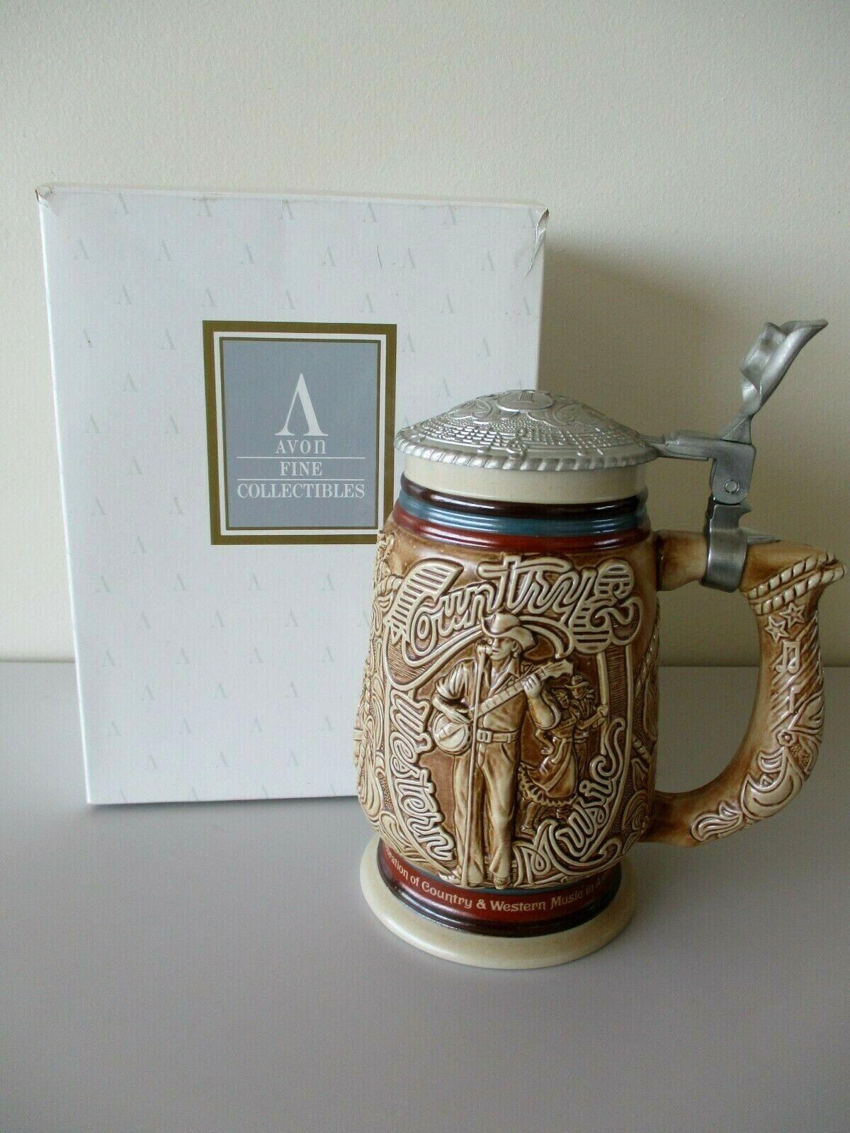 Vintage Avon Country & Western Music In America Ceramic Stein Original Box 1994