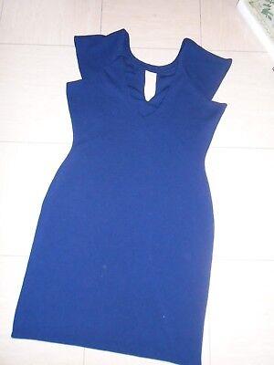 ADLIB size 14 navy blue dress with bronze accessories at neckline