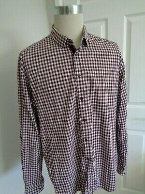 Usado, Zara Man Long Sleeve Tailored Fit Burgundy Check Cotton Shirt  size XXL comprar usado  Enviando para Brazil