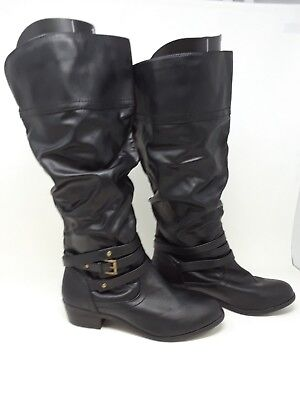 NEW w/defect! Bongo Women's Peyton Slouch Knee High Fashion Boots Blk #20408