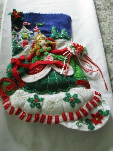 "Finished/Completed Bucilla 18"" Felt Christmas Stocking- ""PRINCESS CASTLE"""