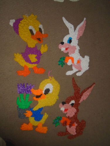 4  Vintage Melted Plastic Popcorn Easter Ducks and Rabbits