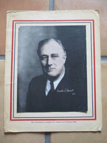 1940s WWII era Franklin Roosevelt Patriotic Print Disabled Veterans Fund Raiser