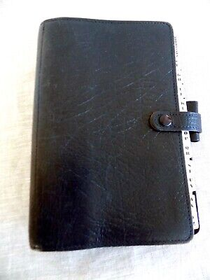 Vintage Filofax 4clf78 Black Leather Organizer Made In England For Paul Smith