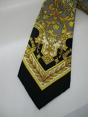 Gianni Versace EUC vintage 90s baroque black gold checker floral silk neck tie