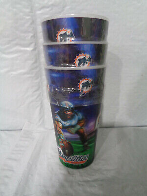 (3) Miami Dolphins - NFL - Hologram  - Re-Usable - Drinking Cups - Football - Miami Dolphins Cups