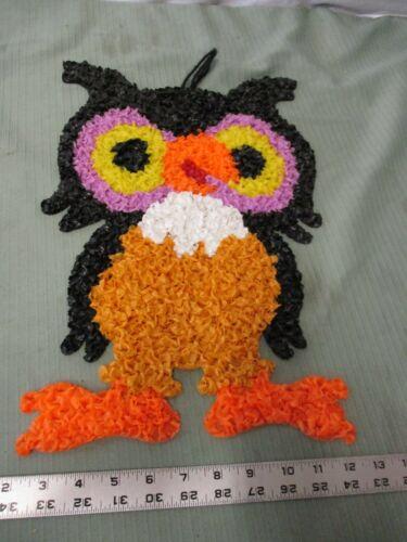 Vintage Melted Popcorn Plastic Decor Thanksgiving Halloween Owl night bird