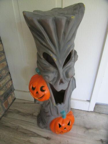 "Vtg Rare 35"" Blow Mold Spooky Halloween Tree Light J-O-L Pumpkin Plastic Foam"