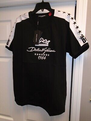 Dolce & Gabbana Men's Stars Embroidered Short Sleeve  T-shirt, Sz: 52 / LG.