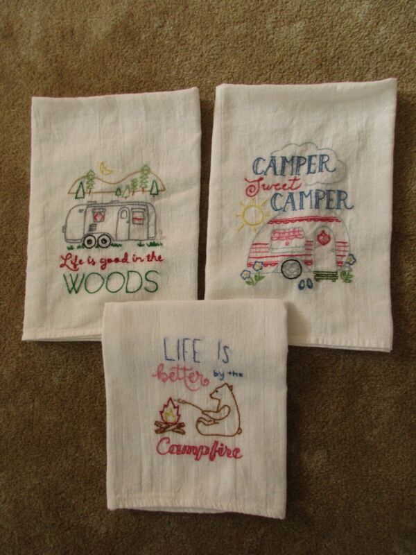 HAND-EMBROIDERED FLOUR-SACK DISH TOWELS - LOT OF 3 CAMPING/TRAILER OUTDOORS