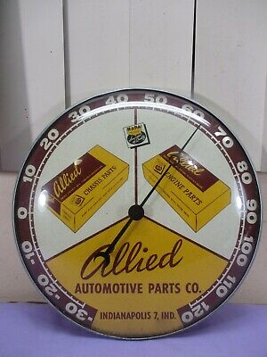 Vintage PAM CLOCK Allied Auto Parts Wall Thermometer Indianapolis Ind. NAPA 1958