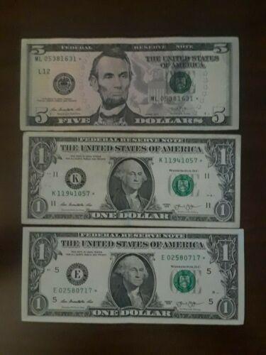 Lot of 3 Star Notes, $5 Bill $1 Bills