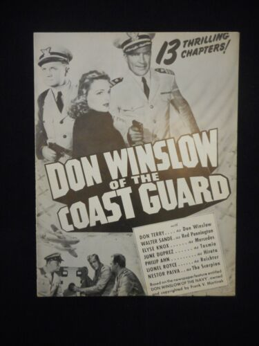 DON WINSLOW OF THE COAST GUARD 1943 R47 Serial Pressbook Don Terry
