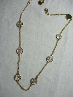 Ralph Lauren RLL Necklace Gold Tone Chain attached Discs tiny Stones