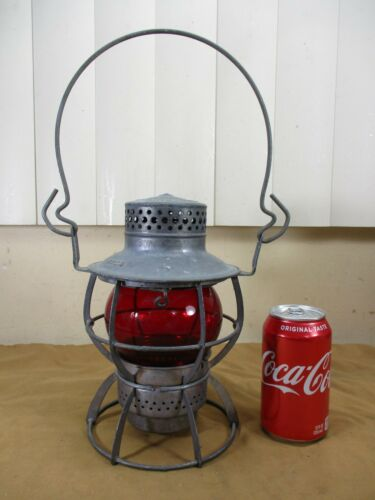 Vtg Dressel Brand New York Central Railroad Lantern Lamp Red Globe Arlington NJ