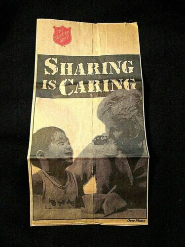 VINTAGE The Salvation Army SHARING IS CARING Paper FOOD DONATION Bag SEE REVERSE