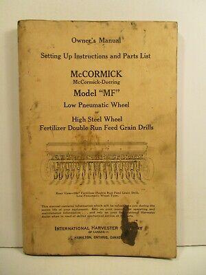 International Mccormick Deering Corn Feed Shop Parts Model Mf Operators Manual