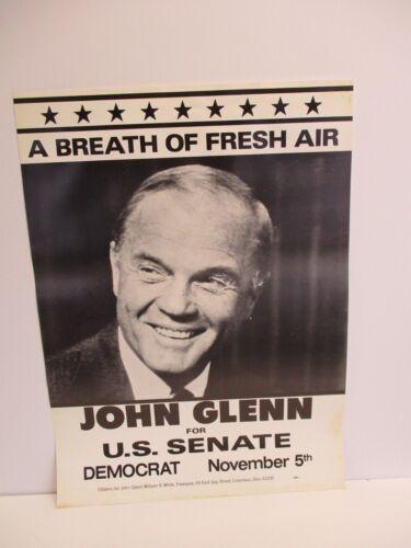 Democratic NASA Mercury Astronaut John Glenn Ohio Senator Campaign Photo Poster