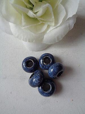 5 Keramik - (5 Beadsperlen  Keramik/Stein  Großlochperlen Blau)