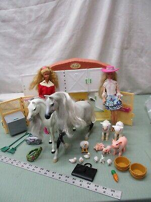 Vintage Mattel Barbie Horse Stable Farm Rake Pony Building Lot Set Doll Yellow