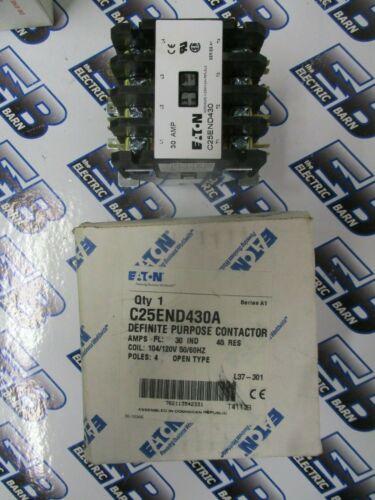 CUTLER HAMMER/EATON C25END430A, 30 AMP 4 POLE DEFINITE PURPOSE CONTACTOR- NEW