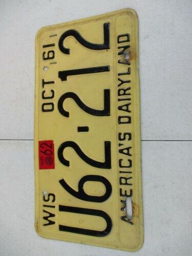 Vintage 1961-62 Wisconsin License Plate