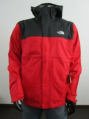 Mens TNF The North Face Venture Dryvent Waterproof Hooded Rain Jacket Red / Blac