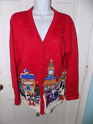 VICTORIA JONES Ugly Christmas Cardigan Sweater Red Candy Shop Ugliest Size M EUC - Ugliest Christmas Sweater