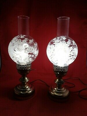 2 Frosted Oil Lamps Shade Victorian Painted Glass Globe for Table Vanity Boudoir